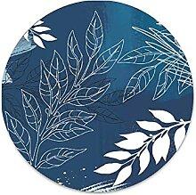 Metallschild im Patchwork-Stil, blaue Pflanze,