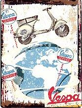 Metallschild mit Motiv Vespa, Scooter, 20,3x 25,4cm, Retro, Vintage-Stil, für Garage, Werkstatt, Schuppen, für Männerzimmer, Kuns