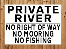 Metallschild, Motiv: Private River – No Right of