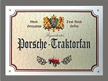 Metallschild Porsche Traktor Fan - Schild Hessen