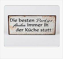 Metallschild, Wandbild 30 x 13cm Küchen Partys