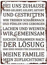 METALLSCHILD Wandschild *[BEI UNS]* ZUHAUSE Dekoration Haus Familie Wohnung
