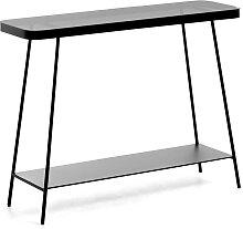 Metalltisch in Schwarz Rauchglasplatte