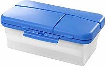 Metaltex 235190075 Lunch und Go Frischhaltedose, Faltbare Lunchbox, Vorratsdose, Silikon, Blau/transparent, 16 x 10 x 27 cm
