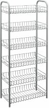 Metaltex 343016039 Monaco Allzweckregal, 6-Etagen, 41 x 23 x 104 cm, silber