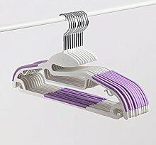 Meters Plastik Anti - Rutsch - Kleiderbügel hängender hängender Haken kleidet erwachsener Haushaltaufhänger (Sätze 10) ( Farbe : Lila )