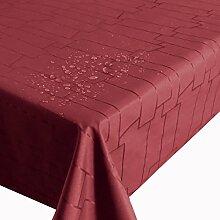 """Meterware Stoff Farbe , Breite & Länge wählbar - Royal Steine Rot TEFLON Eckig 120 x 320 bzw. 320x120 cm Tischdecke """" Kein Wachstuch """" Gartentischdecke Lotus Effekt wasserabweisend Lebensmittelech"""
