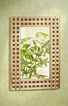 Metra Wandspiegel, 50x70, Gitterdesign, Walnuss