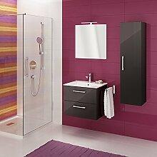 Metro Badmöbel-Set / Komplettbad 4-teilig, Graphit hochglanz, Spiegel mit LED-Beleuchtung, mit Waschtisch 80 cm