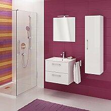 Metro Badmöbel-Set / Komplettbad 4-teilig, Weiß hochglanz, Spiegel mit LED-Beleuchtung, mit Waschtisch 80 cm