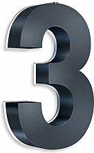Metzler 3D Hausnummer mit Dämmerungssensor in