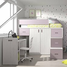 Meubles ROS Möbel Ros Hochbett mit Schreibtisch Abnehmbar und Schrank–164,4x 203,8x 165,2cm Chêne/Mauve/Mûre
