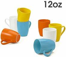 Meway Porzellanbecher, 340 ml, für Kaffee, Tee,