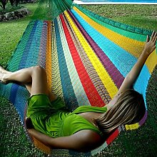 Mexikanische Netzhängematte in bunt Regenbogen Doppel Hängematte