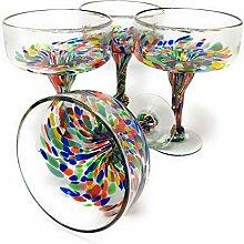 Mexikanisches mundgeblasenes Glas – Set von 4