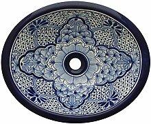 Mexikanisches Talavera Waschbecken Handbemalt Blau