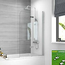 Meykoe Duschwand für Badewanne 110 cm Höhe 140cm