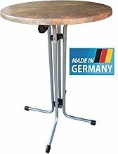 MFG Stehtisch klappbar, MADE IN GERMANY, 80 cm rund, Höhe 110 cm, anthrazit, wetterfeste Werzaliztplatte in Vulcano, TÜV geprüf