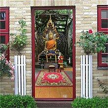 MGCfsm 3D Türtapete Türaufkleber Skulptur Buddha