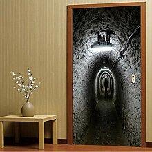 MGCfsm Türtapete Selbstklebend Horrortunnel