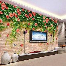 MGMMural 3D Wallpaper Selbstklebendes Rot Blumen