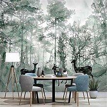 MGMMural Fototapete 3D Effekt Nebel Wald Tiere