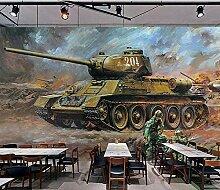 MGQSS 3D Wandbild selbstklebende Tapete Retro Tank