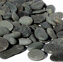MGS SHOP Flachkies MEDITERRAN Flat-Stone Flacher Kies sehr angenehm begehbar 20 kg (anthrazit,2-3cm)