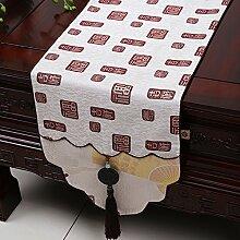 MH-RITA Chinesische Jade Garten Geschenk Tischdecke Tischdecke Bett Schrank Tisch Matte Flagge Flagge lange Tuch E 33 X 180 Cm.