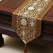 MH-RITA Chinesischer Garten Geschenk Tischdecke Tischdecke Bett Schrank Tisch Pad Flagge Flagge lange Tuch europäischen Gewebe J 33 X 230 Cm