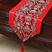 MH-RITA Chinesischer Garten Geschenk Tischdecke Tischdecke Bett Schrank Tisch Pad Flagge Flagge lange Tuch europäischen Stoff M 33 X 300 Cm
