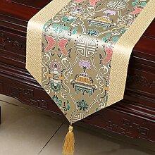 MH-RITA Chinesischer Garten Geschenk Tischdecke Tischdecke Bett Schrank Tisch Pad Flagge Flagge lange Tuch europäischen Stoff N 33 X 230 Cm