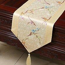 MH-RITA Chinesischer Garten Geschenk Tischdecke Tischdecke Bett Schrank Tisch Pad Flagge Flagge lange Tuch europäischen Stoff K 33 X 200 Cm.