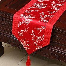 MH-RITA Chinesischer Garten Geschenk Tischdecke Tischdecke Bett Schrank Tisch Pad Flagge Flagge lange Tuch europäischen Struktur B 33 X 200 Cm.