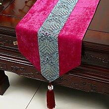 MH-RITA Die neue Chinesische Moderne, minimalistische Runner Wasser Tisch Tuch Tuch American Pastoral Mat Bed Bed's Handtuch 33 X 200 Cm.