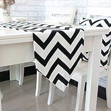MH-RITA die Nordischen minimalistischen High-Grade Mat Stripe Tischläufer moderne Tischdecke TV-Schrank dekorative Bett flagge Schwarz, 30 x 220 cm