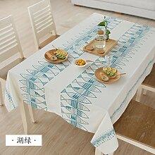 MH-RITA Einfache einfache Japanische Gewebe Tischdecke Baumwolle gedruckt Tuch Handtücher runden Tisch See Grün 140 * 140 CM