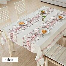 MH-RITA Einfache einfache Japanische Gewebe Tischdecke Baumwolle gedruckt Tuch Handtücher runden Tisch chinesischen Rot 100*140 CM