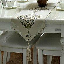 MH-RITA Europäischen Einfache Moderne Blended Garn gefärbt Jacquard Bettwäsche Tischdecke europäischen Tisch Flagge 30 X 200 Cm.