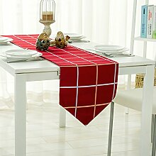 MH-RITA Europäischen minimalistischen Festliche Rot karierte Tuch Geschenk Doppelbett Flagge Nordic TV-Schrank Tisch Tuch Tuch Matte 30 X 200 Cm.