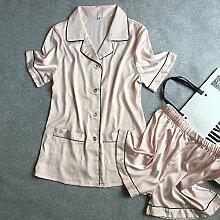 MH-RITA Frau Sommer Eis Seide silk Pyjamas Lose Shorts Strickjacke Anzug Anzug zwei Südkorea Heimtextilien Frau M ???