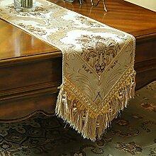 MH-RITA Geschenk Boutique Luxus im europäischen Stil Garten einfach Mode Tabelle Flag Flag Bett Tisch Flags TV-Schrank Handgefertigt F Flagge 33 X 200 Cm.