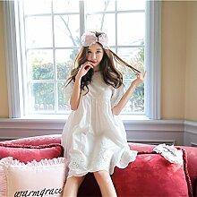 MH-RITA Neue Weibliche Sommer Nachthemd reine Princess Wind niedlichen Baby Schlafanzug baumwolle rock Damen Bekleidung Heimtextilien Version W Weiß