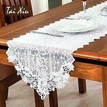MH-RITA Tisch Tischdecke Lace Tischdecke europäischen Einfache weiße Tischdecke Pastorale koreanische Flagge 40 X 150 Cm.