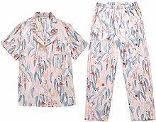 MH-RITA Weibliche Hose Shirt kurzarm Sommer Schlafanzug Cartoon Süße Prinzessin Lose komfortable Seide Thin Heimtextilien Anzug L (120~140 Jin) 170 Yards Farbe