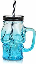 MHOYI 3D Totenkopf Glas Trinkglas mit Deckel und