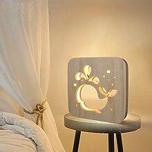 MHXXYD Holzpfote Tier Nachtlicht 3D Lampe