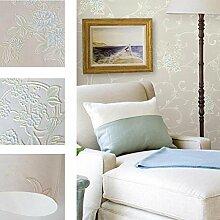 MI-RAN 3D geprägte Vliesstoffe Tapete fuer Wohnzimmer,Schlafzimmer,TVhintergrund 950CM * 53CM, A36031 , White , 950cm*53cm