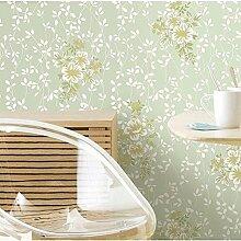MI-RAN Pastoral Blumen Vlies Tapete fuer Wohnzimmer,Schlafzimmer 950CM*53CM , A35071 , light green , 950cm*53cm