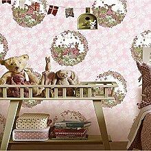 MI-RAN Rosa Tapete Schlafzimmer Wohnzimmer Kinderzimmer Tapete Hintergründe ,147201, Rosa , 1 , 1000cm*53cm